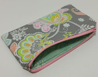 Gray Paisley Novelty Zipper Pouch - makeup bag; pencil case; gift for her; cosmetic bag; carry all; gadget case;