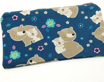 Mama Bear and Cub Novelty Zipper Pouch - makeup bag; pencil case; gift for her; cosmetic bag; carry all; gadget case; birthday