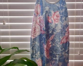Vintage Silk Floral Slip Dress L