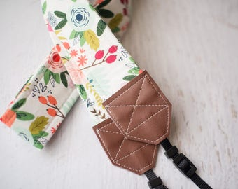 floral camera strap, dslr camera strap, womens gift, camera accessories, nikon camera strap, photographer gift, womens accessory