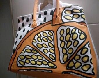 Printed cotton tote bag.