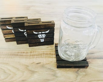 bull skull coasters-pallet coasters-rustic coasters-custom coasters-wood coasters-gifts for her-gifts for him-farmhouse coasters-soap dish
