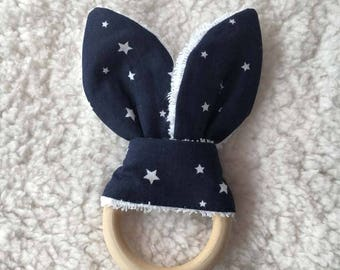 teething ring toy graphic print bunny ears
