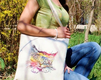 Sleepy cat bag -  Cat shoulder bag - Fashion canvas bag - Colorful printed market bag - Gift Idea
