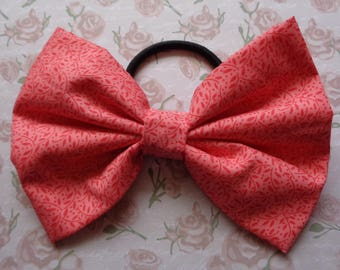 Coral And Pink Print Fabric Hair Bow