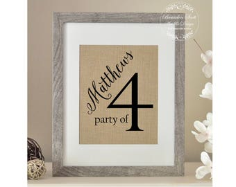 Party of Family Sign, Pregnancy Reveal, Party of 4 Sign, Family Number Sign, Personalized Housewarming Gift, Pregnancy Announcement