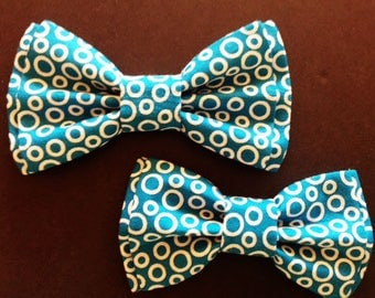 Bow Tie,Mens Bow Tie, Dad and Son Bow Ties, Teal Bow Tie, Father Son Bow Ties, Groomsmen Bow Tie, Teal Print Bow Tie,  Boys Bow Tie  DS738
