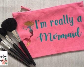 Mermaid make up bag - Pink make up bag -  Mermaid cosmetics storage - holographic mermaid - Holiday toiletries bag - Mermaid birthday gift