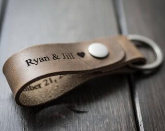 Customized Keychain, Personalized Keychain, Leather Key Chain, Custom Keychain - Driftwood