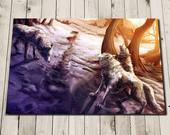 SUNSET WHITE WOLVES Art Print - Wolf Poster Painting - Wolf Gifts - Home Decor
