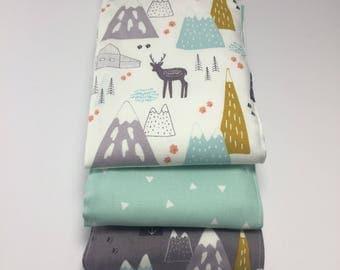 Mountain Cotton Burp Cloth Trio