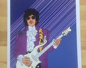 Prince Purple Rain Retrowave 80's Print Cloud Guitar