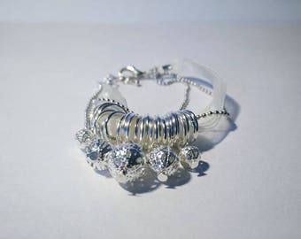 Yellow organza and Pearl filigree silver bracelet