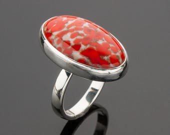 Red Coral Matrix Czech Glass Ring, Handmade Glass Cabochon Ring, Vintage Glass Cabochon, Hand-Crafted Sterling Silver Ring, Handmade Ring