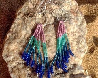 Sterling silver beaded fringe earrings