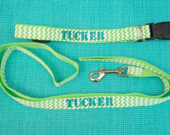 Monogrammed Dog Collar and Leash, Monogrammed Dog Gift Set, Personalized Dog Collar and Leash, Monogrammed Dog Collar, Monogrammed Dog Leash