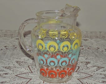 Retro Glass Pitcher-Yellow-Blue-Red