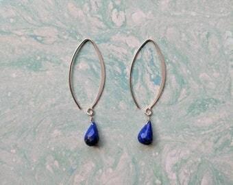 Lapis Lazuli Long Drop Earrings, Sterling Silver Lapis Lazuli Earrings, Modern Minimalist Lapis Earrings, Something Blue
