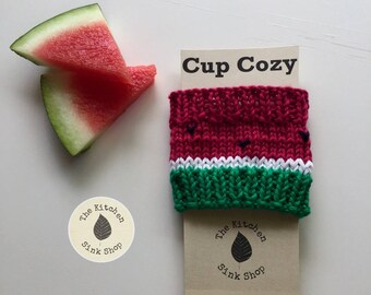 Watermelon Cup Cozy | Summer | Coffee Sleeve | Summer Drink Cozy | Red | Green | Hand knit | Cotton | Reuseable | Eco Friendly