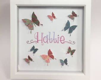 Personalised framed name print with beautiful 3D butterflies and crystal decoration