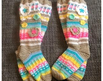 Crochet Slipper Socks, Crochet Socks, Crochet Slippers, Slipper Socks, Socks, Gifts For Her, Gift, Handmade Socks, Women's Slipper Socks