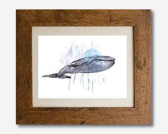 Whale Watercolour Print, Illustration, Wall Art, Drawing A4, A5