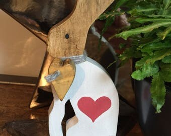 Wooden Easter Rabbit / Hare with heart design & wooden hanging heart round neck