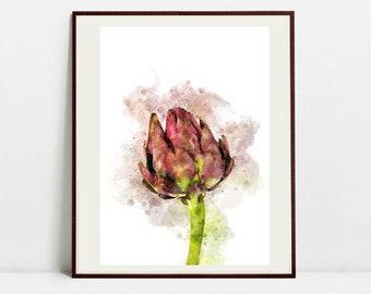 Artichoke Watercolor Art Print, Artichoke Illustration, Kitchen Wall art, Kitchen Wall Decor, Vegetable Print