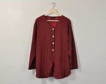 Striped Silk Blouse, Oversized Silk Shirt, 90s Silk Tunic, Vintage 90s Blouse, Minimal Striped Blouse, 90s Minimal Button Up Shirt