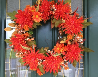 Autumn Wreaths - Fall Front Door Wreaths - Front Door Wreaths - Thanksgiving Wreaths - Orange Wreaths - Fall Wreaths  - Wreaths for Fall
