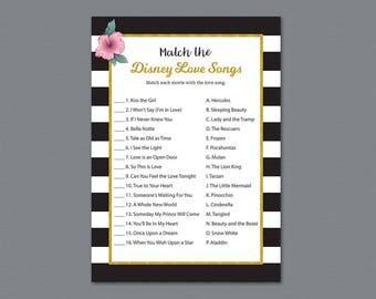 Kate Spade Match the Disney Love Songs Game Printable, Bridal Shower Games, Bachelorette Party, Wedding Shower, Black White Stripes, A014