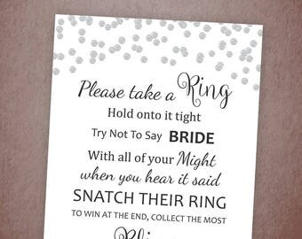 Don't Say Bride, Silver Confetti Bridal Shower Ring Game, Take a Ring, Bachelorette Party Games, Don't Say Bride Game, Polka Dots, A003