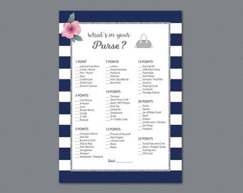 Kate Spade Whats in your Purse Game Printable, Silver Bridal Shower, Bachelorette Party, Wedding Shower Games, Purse Raid, Purse Hunt, A019