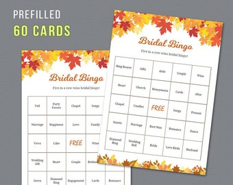Fall Bridal Shower Bingo Prefilled 60 Cards, Autumn Leaves, Printable Bingo Cards, Bridal Shower Games, Bachelorette Party, Wedding,  A021