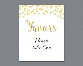 Favors Please Take One Sign Printable, Gold Glitter Confetti Thank You Sign, Bridal Shower Sign, Wedding Favor Sign, Party Decorations, A004
