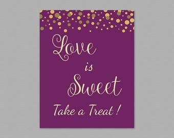 Love is Sweet Take a Treat Sign, Purple Gold Confetti Love is Sweet Sign Printable, Wedding Sign, Favor Table Sign, Bridal Shower A006