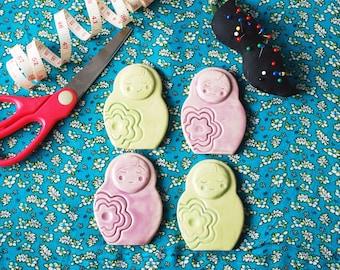 Matryoshka ceramic sewing pattern weights
