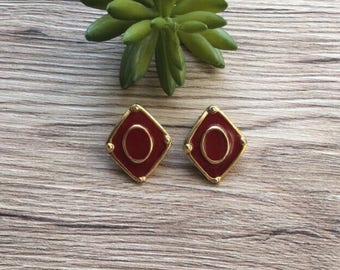 Vintage red enamel earrings. Red enamel diamond.  Red and gold earrings. Enamel earrings. Vintage jewelry.