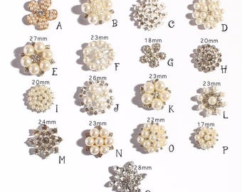 Super Bling Metal Rhinestone Buttons Ornaments Clear Alloy Mixed Colors Crystal Flatback Buttons for Hair Accessories Wedding Decoration
