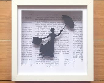 Mary Poppins Silhouette Handmade Wall Art