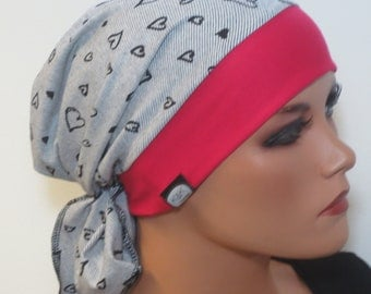 Scarf cap/CABRIOMÜTZE black white pink turban ideal for chemotherapy Chemomütze alopecia as OP hood for boating