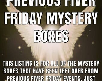 Previous Fiver Friday Mystery Boxes, left over from previous events, choose from drop down menu, only 5 pounds, perfect gift
