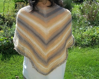 AUTUMN COLORS HAND KNITTED ANGORA SHAWL/WRAP
