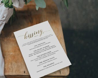 Printable Kissing Menu Template, Printable Wedding Games, Wedding Kissing Menu, Wedding Table Games, Kissing Menu Printable - KPC03_408