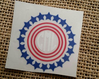 USA, United States Flag, Red, White and, Blue Monogram, 4th of July, Fourth of July, Stars and Stripes, American Flag Heart, YetiDecal