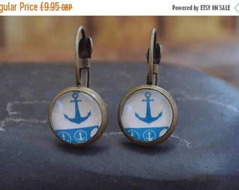 AugSale20 Dangle Anchor Earrings, Dangle Drop Earring, Leverback Earring, Bronze Earrings, Ship Earrings, Anchor Earrings, Handmade Dangling