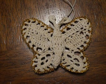White and gold handmade crocheted butterfly ornament