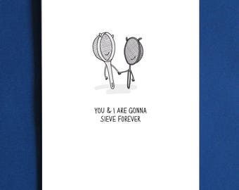Oasis Live Forever Card - Sieve Forever - Funny music pun, blank greeting card