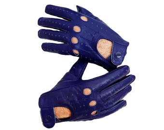 Blue sheep leather Driving Gloves