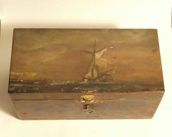 Painted wooden box with oil painting of former Dutch sailing ship.
